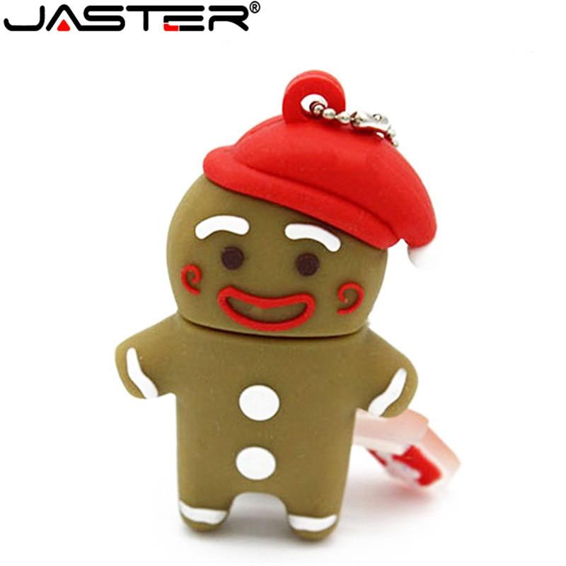 JASTER 2018 Hot Fashion Cartoon Gingerbread Man %100 Real Capacity USB 2.0 4GB 8GB 16GB 32GB 64GB Gift USB Flash Memory Stick
