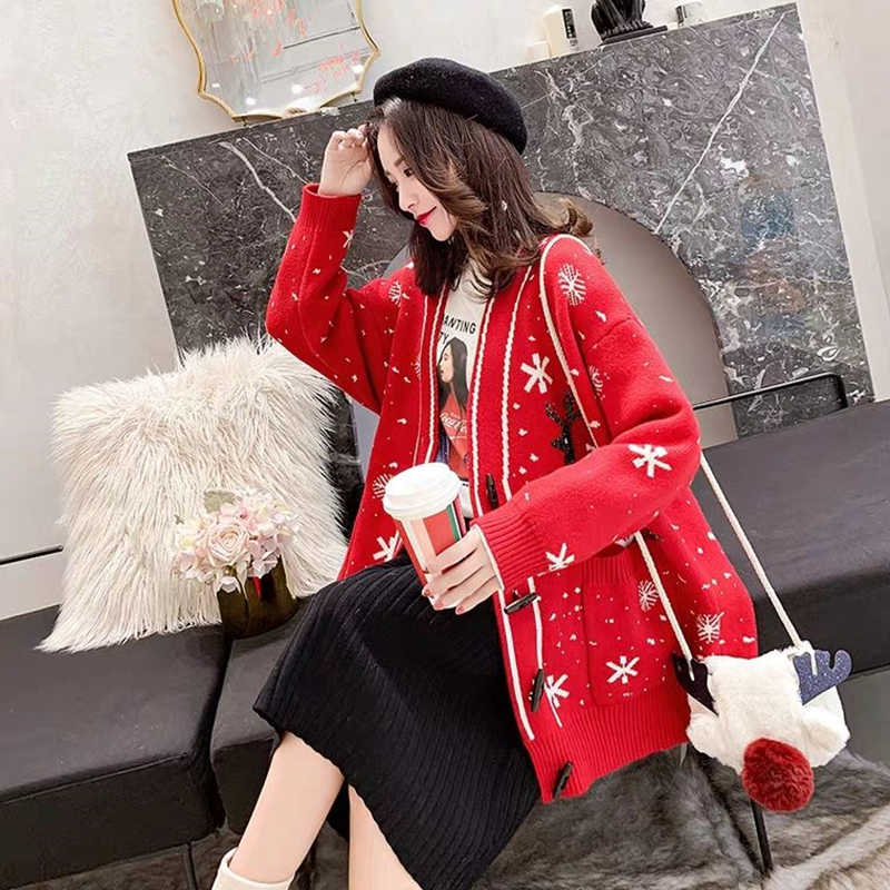 2018 rosso Di Natale cappotto del maglione cardigan allentato femminile di spessore pigro vento a maniche lunghe maglione di autunno e inverno