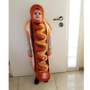 Image 5 - Mono de salchicha con estampado 3D divertido para hombre, disfraces de comida para perros calientes, disfraz de Halloween para niños, Festival para adultos, vestido de fantasía a juego para Familia
