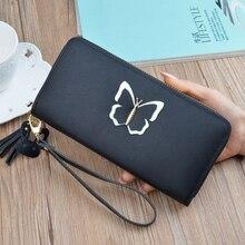 New women wallet long designer leather Korean fashion coin purse zipper tassel large capacity storage wallet
