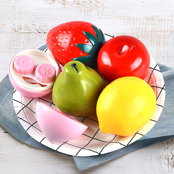 Mini Stylish Apple Contact Lens Case Unisex Box Eyes Contact Lens Container Travel Kit Box with Bottle Tweezers Mirror Holder luxury roundness contact lens case color water eye lens box popular travel lens case contact with mirror