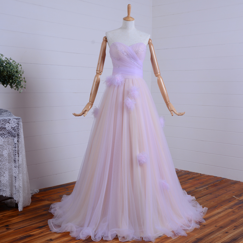 Real Photos New Hot Sexy Long Prom Dresses Sweetheart Tulle Flowers A-line Vestido De Festa Evening Gowns Beading 2015 Maiden