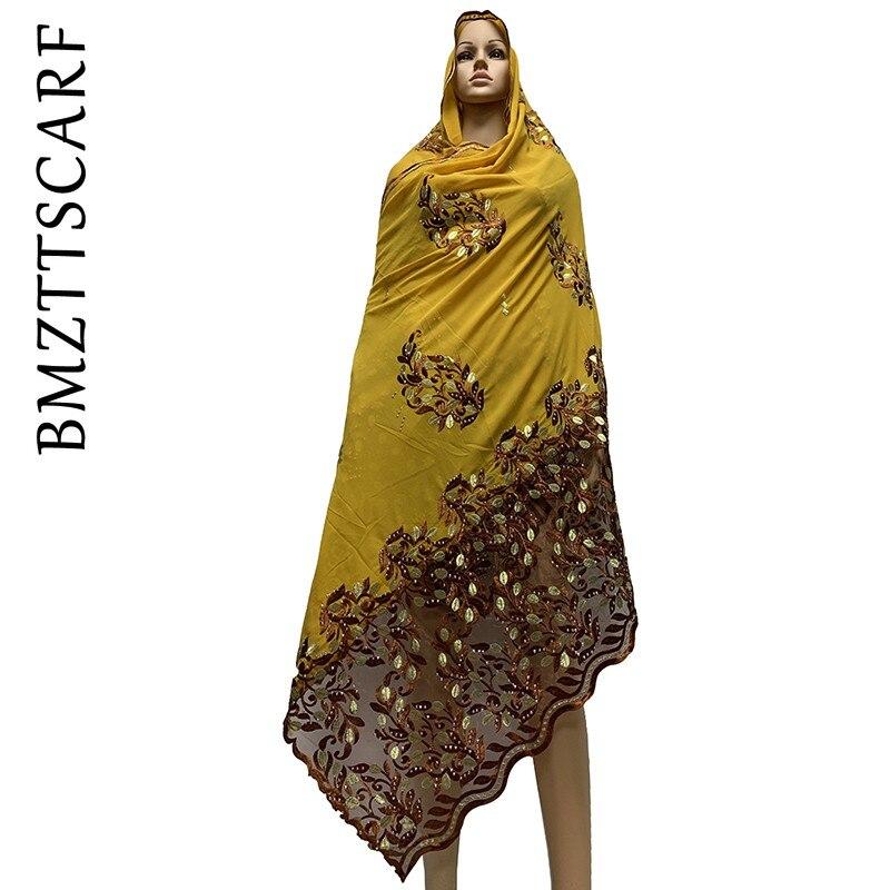 African Women Scarfs High Quality Chiffon Scarf  Embroidery  African Hijab Scarf For Women Shawls BM740