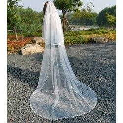 Elegante capilla nupcial velo dos capas suave tul hecho a mano diamante cristal boda velos vestido de novia accesorios con peine