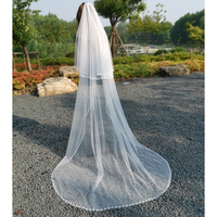 elegant chapel bridal veil two layers soft Tulle handmade diamond crystal Wedding Veils Wedding dress accessories with comb