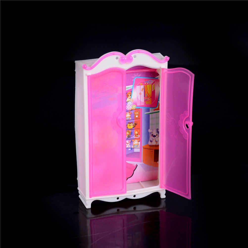 Новая мини принцесса мебель для спальни шкаф гардероб куклы розовый s Куклы