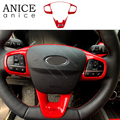 2pcs Carbon fiber color Steering Wheel Cover Fit For ford Focus 2019 With low version|Automotive Interior Stickers| |  -