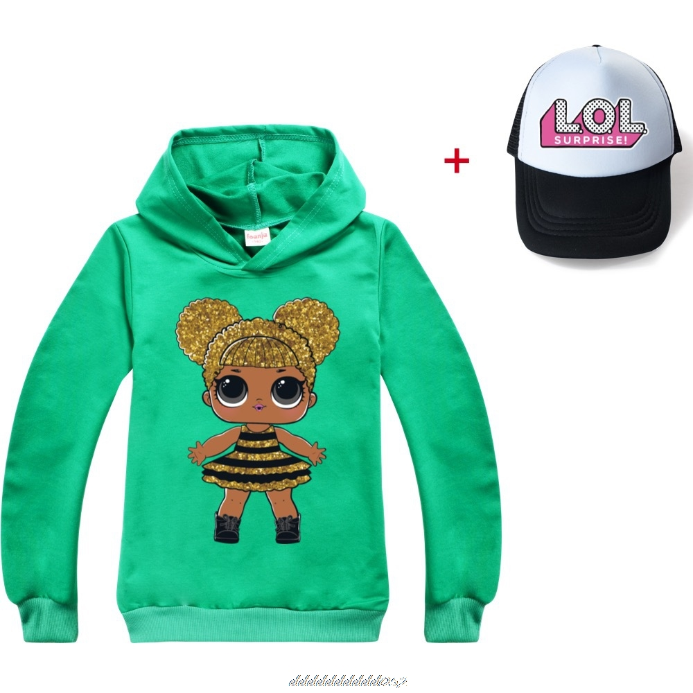 Gris L.O.L. SURPRISE! Hoodies Girl Fashion Hoodie Children Casual Pullovers Printed Sweaters Long Sleeves Kids Autumn Clothes 6