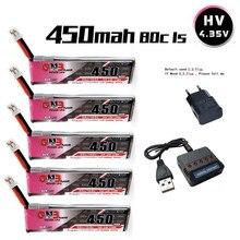 Gnb 1s 3.8v 450mah 80c/160c 4.35v lipo bateria e carregador ph2.0 fpv corrida m80s tiny7 beta75s emax tinyhawk snapper7 zangão