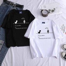 Летняя женская одежда, новые футболки в стиле Харадзюку, Kpop, Женская Винтажная футболка с динозавром, топы с коротким рукавом, футболки, модн...