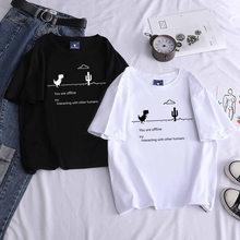Verão roupas femininas t-shirts nova harajuku kpop feminino vintage tshirt dinossauro manga curta topos t camisa moda casual
