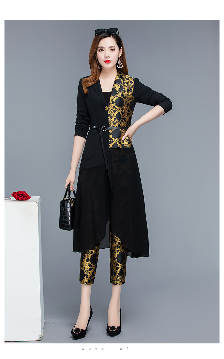 2019 Autumn Black Vintage Printed Two Piece Sets Outfits Women Plus Size Long Tops With Belt And Pants Suits Elegant Office Sets 37