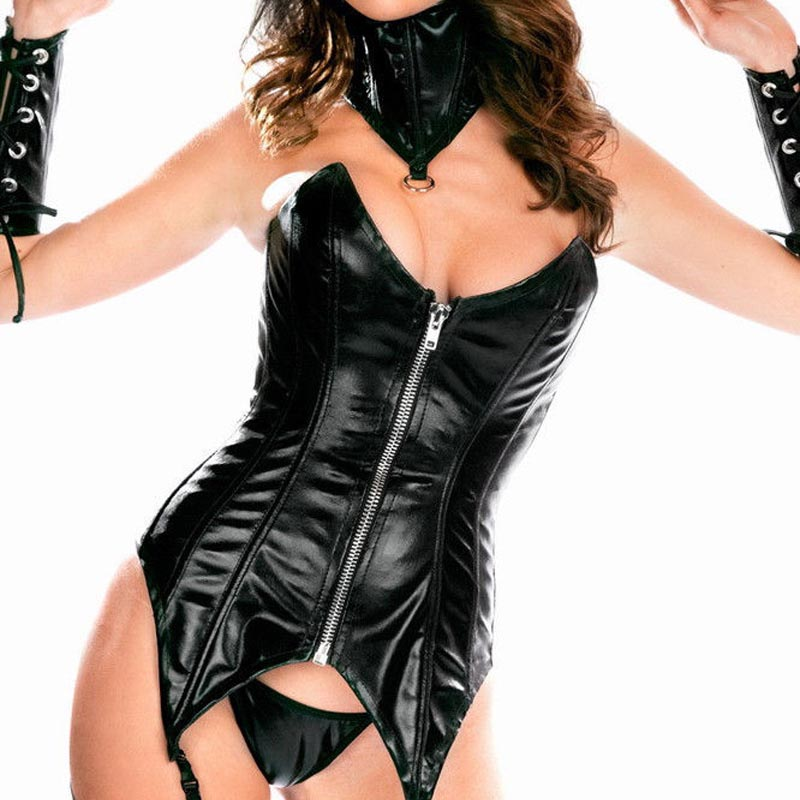 Women Fetish PU Leather Front Zip   Bustier     Corset   Neck Collar Gloves Gothic Punk Mistress Costume Set