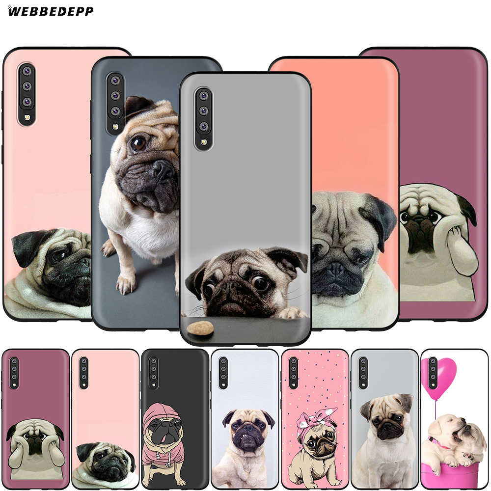 Webbedepp Animal Bonito Cão Pug Case for Samsung Galaxy S7 S8 S9 S10 Plus Nota Borda 10 8 9 A10 A20 A30 A40 A50 A60 A70