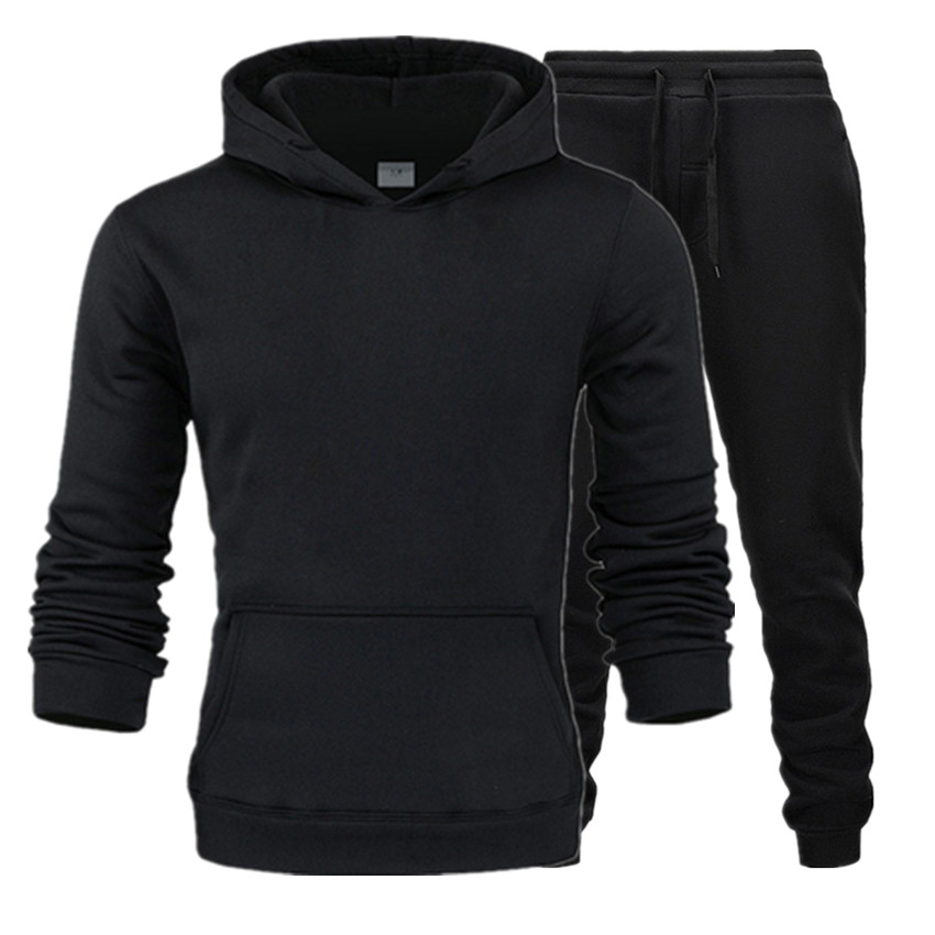 2019 Men Fashion Long Sleeve Hoodies+Pants Set Male Tracksuit Sport Suit Men's Gyms Set Casual Sportswear Suit Black Trousers