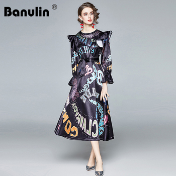 Spring Autumn Fashion Letter Graffiti Print Runway Long Dress Womens Flare Sleeve Ruffles Bow Sashes Lace-Up Holiday Maxi