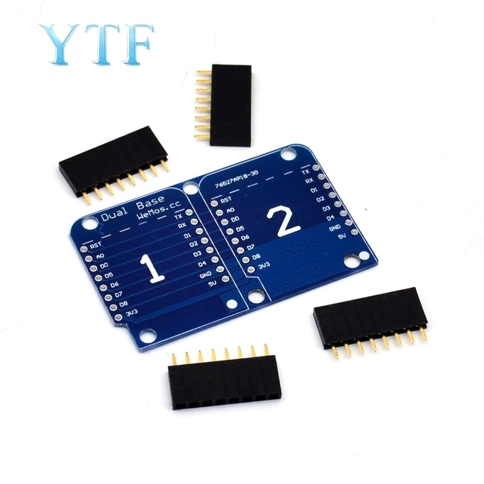 Double Socket Dual Base Shield For Wemos D1 Mini NodeMCU ESP8266 Diy PCB D1 Expansion Board