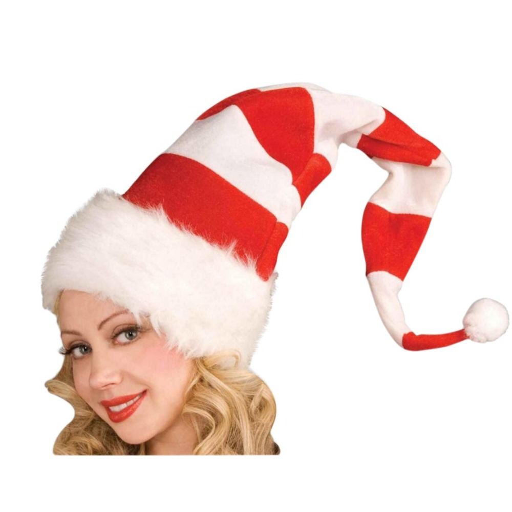 Christmas Cap Plush Xmas Red Cap Santa Stripe Hat for Christmas Party (5)