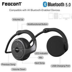 Bluetooth Headphones Neckband Wireless Sports Headset Over-Ear Earbuds With Sweatproof Hi-Fi Stereo Built-In Microphone(China)