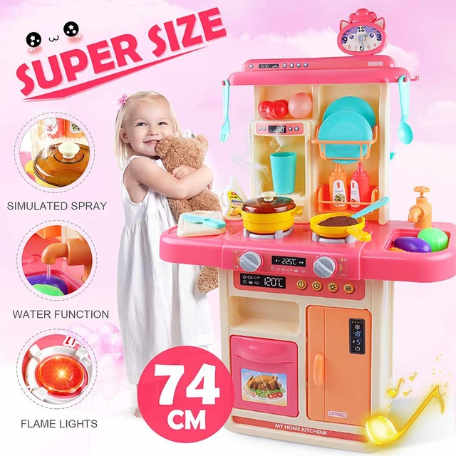 28Pcs Kids Pretend Play Simulation Kitchen Set Chef Cooking Game Miniature Food Mini Cookware Spray Light Toy Children Gift