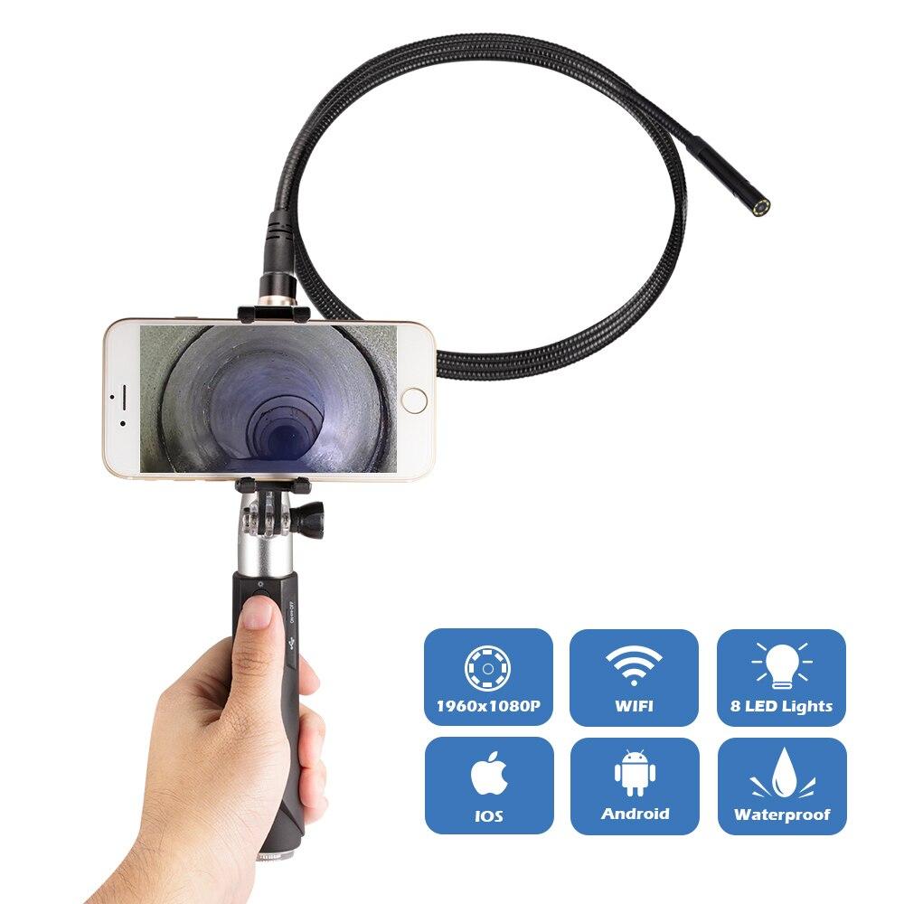 Güvenlik ve Koruma'ten Gözetim Kameraları'de WIFI el endoskop 8mm 8LED 1m yılan sert kablo su geçirmez borescope Android IOS Endoscopio muayene kamera hediye kutusu title=