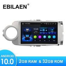 Reprodutor de vídeo dos multimédios do carro de ebilaen android10.0 para a tela wifi da unidade central da câmera do rádio da navegação de toyota yaris 2012 -2017 gps
