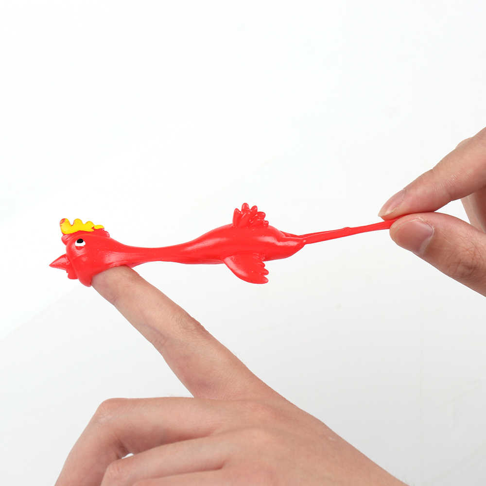 11.5cm Funny Laugh Rubber Chicken Stretchy Flying Turkey Finger Birds Sticky Fun Novelty Toys Random Color Kids Humor Games  New