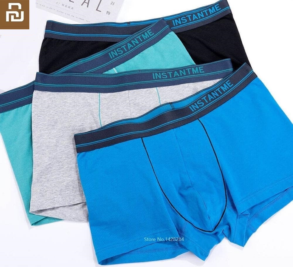 Youpin New Instant Me Male Panties Cotton Men's Underwear Boxers Briefs Cool Breathable Solid Underpants Comfortable Shorts 2pcs