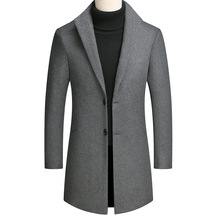 Young Mens Wool Coat Long Grey Wine Red Men mens coats  wool overcoat long coat