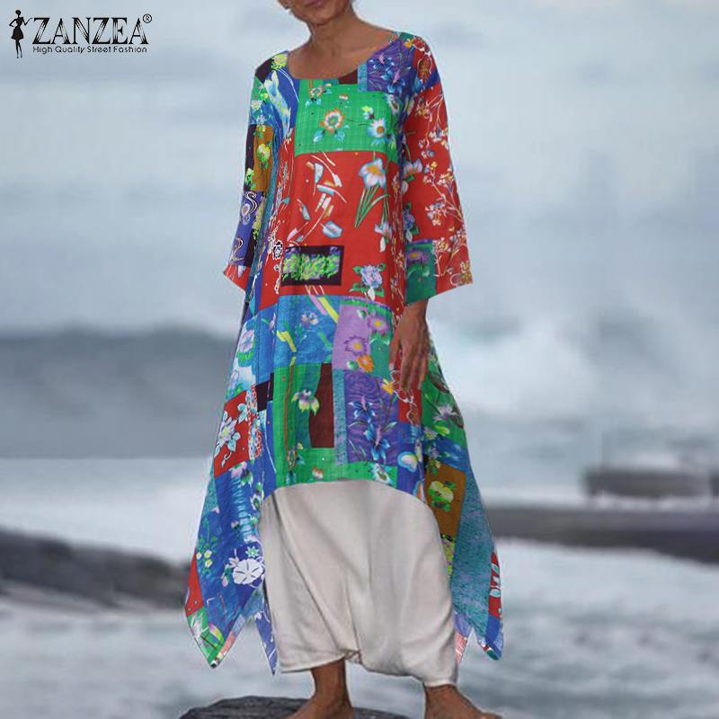 ZANZEA 2019 Vintage Asymmetrical Dress Women's Printed Midi Sundress Casual 3/4 Sleeve Tunic Vestidos Female Patchwork Robe 5XL