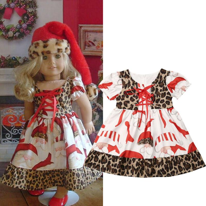 USA Christmas Toddler Kids Baby Girl Xmas Flared Party Santa Swing Dress Clothes