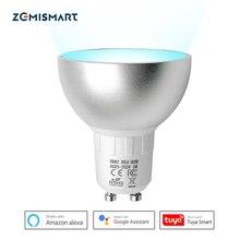 Zemismart Zigbee GU10 inteligentne żarówki LED 5W RGBW kompatybilne z aplikacją Tuya SmartThings Alexa Echo Plus Google Home sterowanie głosowe