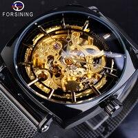 Forsining Square Black Mechanical Watches Man's Transparent Golden Skeleton Slim Mesh Steel Band Automatic Clock Horloges Mannen