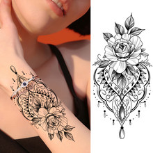Fake Jewelry Temporary Tattoos Sticker Black Waterproof Flower Tattoos Decal For Women Girl Body Art Chest Arm Tattoo Decoration(China)