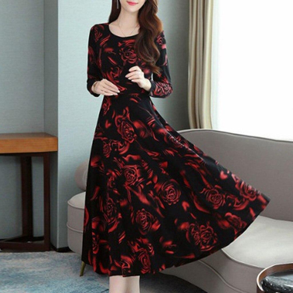 Spring Women Dress Casual Long Sleeve O neck Slim Tunic Dresses Vintage Elegant Print Japanese Korean