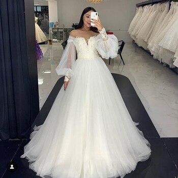 Eightale Wedding Dress Puffy Sleeves O-Neck Appliques Lace Gowns 2020 Boho Plus Size Bride vestido de noivas - discount item  38% OFF Wedding Dresses