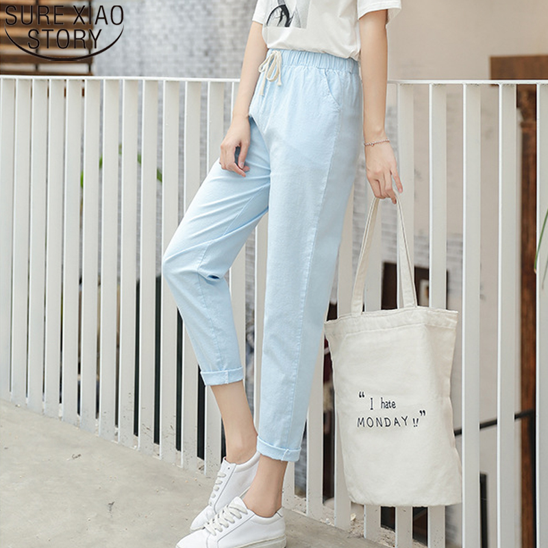 Women's Harem Pants Summer 2020 Summer Cotton Linen Pants Women Female Fashion Capris Ladies Black Casual Trousers Women 9936
