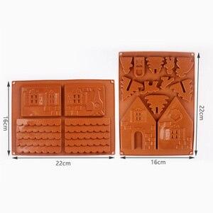 Image 2 - 2 יח\סט 3D חג המולד Gingerbread בית סיליקון עובש שוקולד עוגת עובש מטבח DIY ביסקוויטים עוגת אפיית כלים 22x16cm