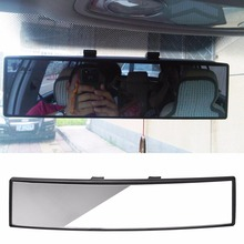 QILEJVS Universal 300mm Panoramic Curve Convex Interior Clip On Rear View Mirror