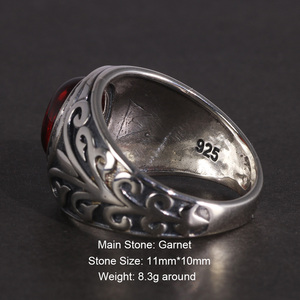 Image 2 - Real 925 Sterling Silver Jewelry Vintage Rings For Men Engraved Flowers With Red Garnet Natural Stone Fine Jewellery