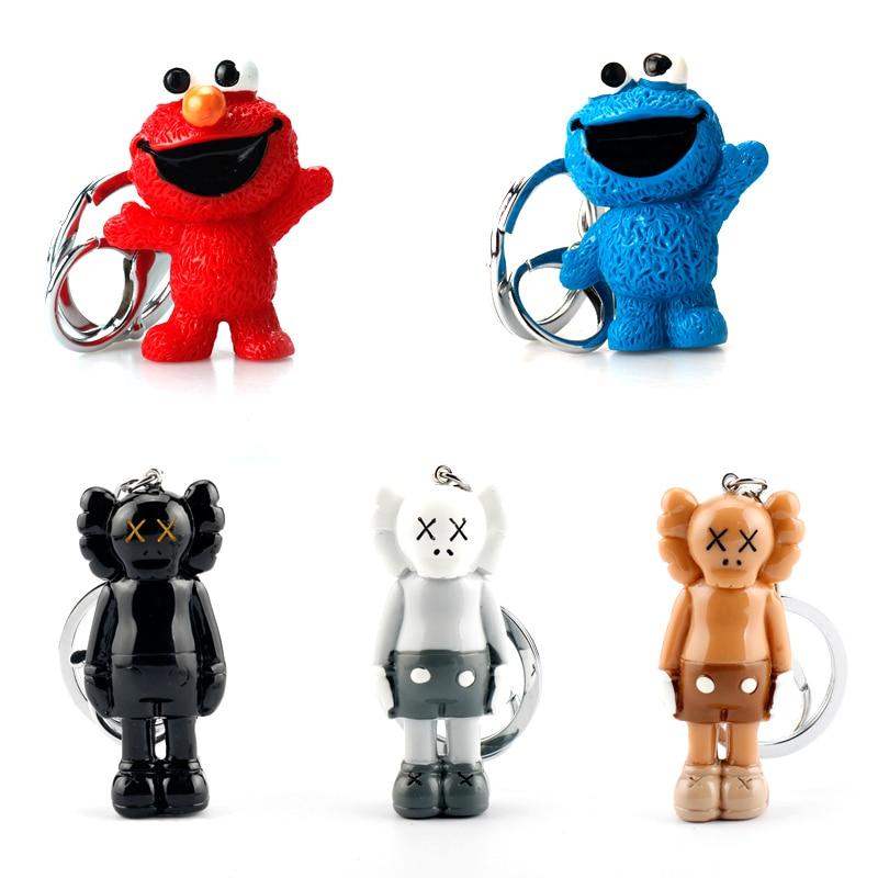 Cartoon Anime Sesame Street PVC Figure Keychain Cute Elmo Cookie Monster Toys Cartoon Dolls Key Chain Keyrings Gift For Kids