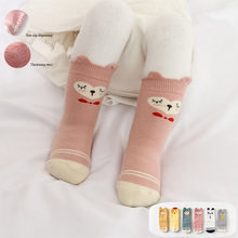 1Pair Baby Socks Cute Cartoon Boys Girls Mid Tube Socks Baby Cotton Candy Colors Winter Autumn Warmers Children Clothes 1-3T(China)