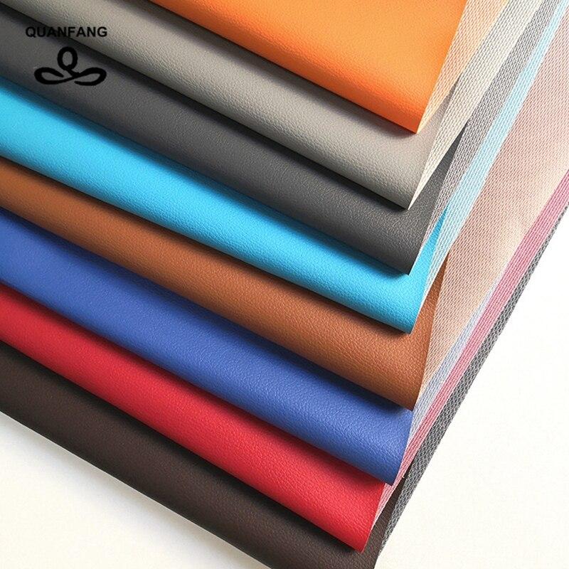 QUANFANG 50x160 см сплошной цвет Lmitation искусственная тисненая кожа PU Ткань для шитья сумки обуви дивана ткани материал полметра