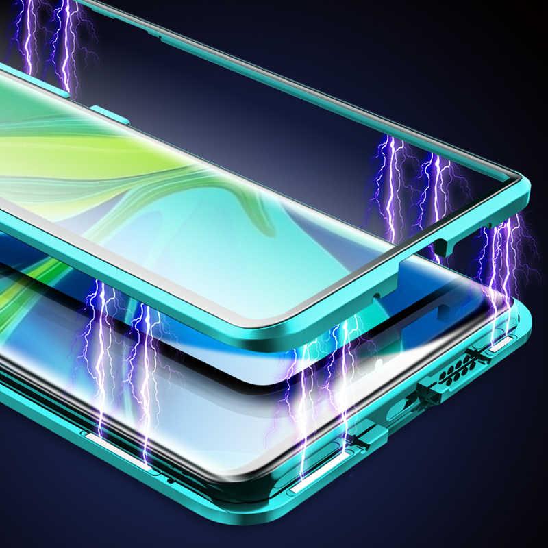 Double-Sided Vetro Temperato Custodie per Xiaomi Redmi Nota 8 7 10 K20 Pro Magnetica Del Telefono Del Metallo di Protezione per redmi 8A 7 Della Copertura Completa