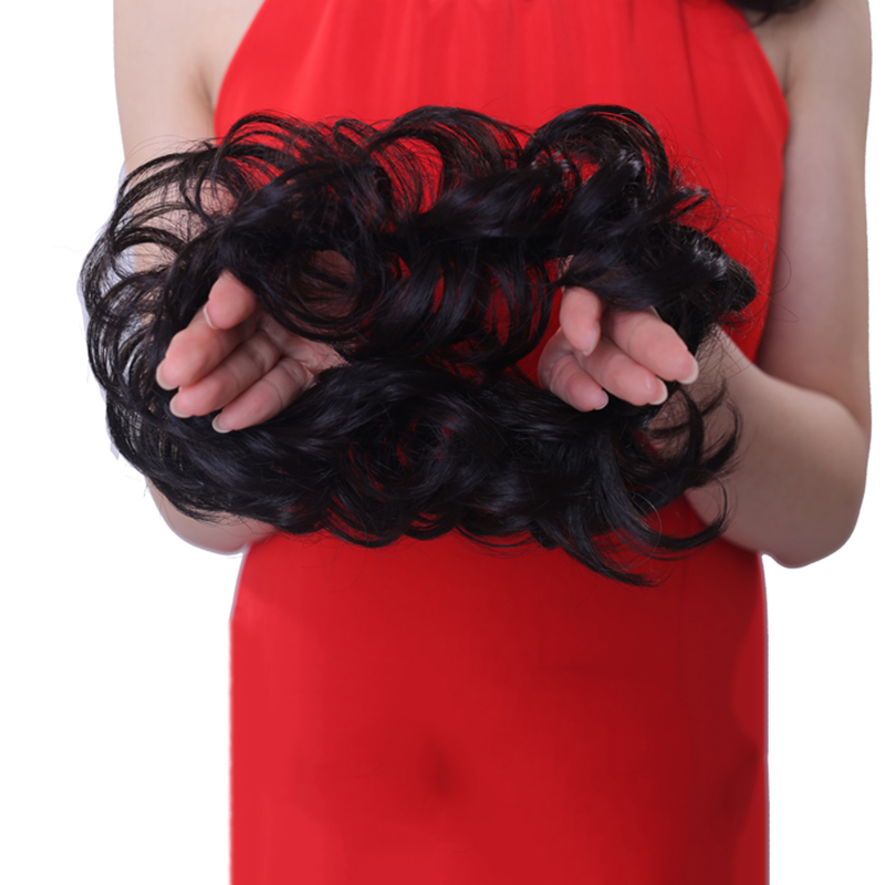 LIHUI Synthetic Chignon Bun For Ponytail Round Messy Wig Bun Curly Hair Elastic Rope Bun Simple And Practical For Girls