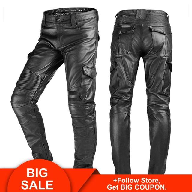 2020 Black Men American Style Motorcycle Leather Trousers Plus Size 4XL Genuine Thick Cowhide Biker's Pants FREE SHIPPING 1