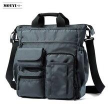 MOYYI çanta omuzdan askili çanta erkekler Messenger Crossbody çanta Laptop Casual stil çok fonksiyonlu cepler çanta
