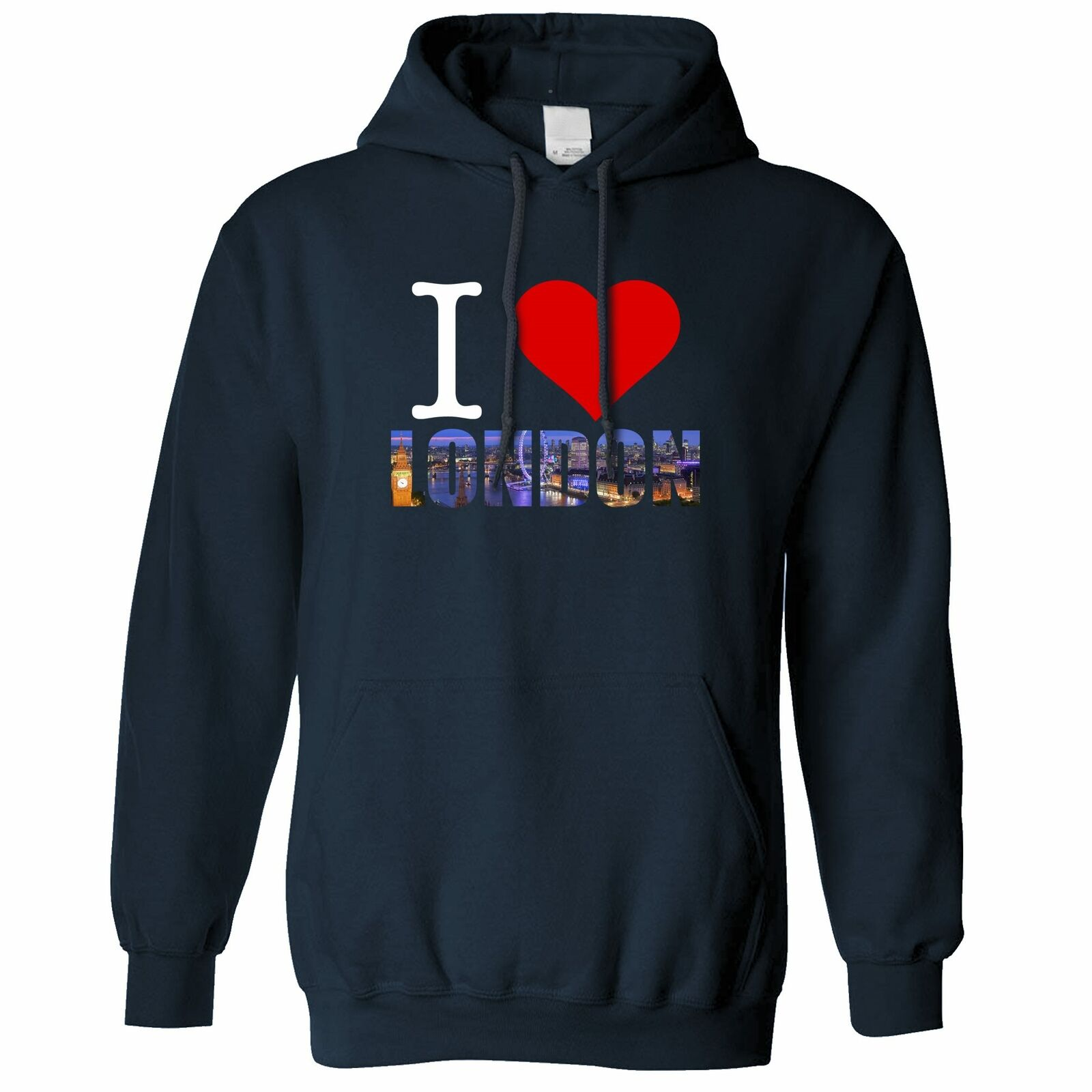 Tourist Hoodie Hood I Love London England Slogan United Kingdom Queen Prince