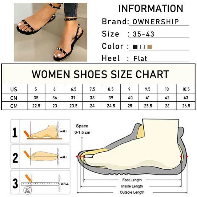2020 Sandalias Mujer remache hebilla Correa pisos mujer punta abierta Sexy playa Casual zapatos mujer verano calzado talla grande 4