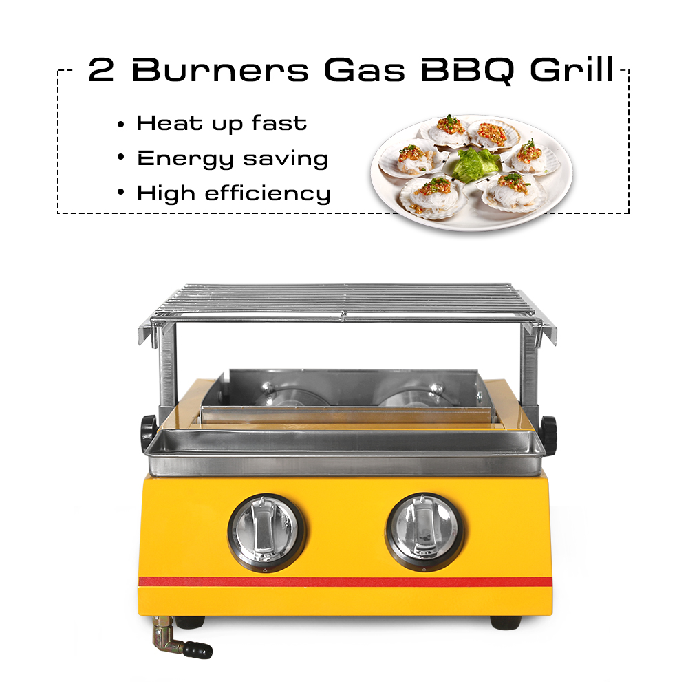 BBQ Grill Doulble Head Gas Barbecue Adjustable Height Smokeless for Outdoor Picnic BBQ Grill